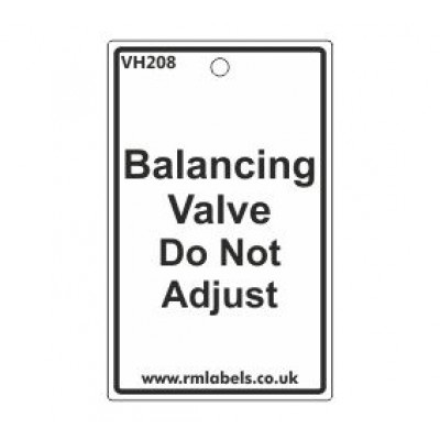 Balancing Valve Do Not Adjust Label Code VH208