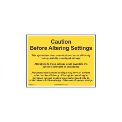 Caution Before Altering Settings label 100x75mm Code SP03SA