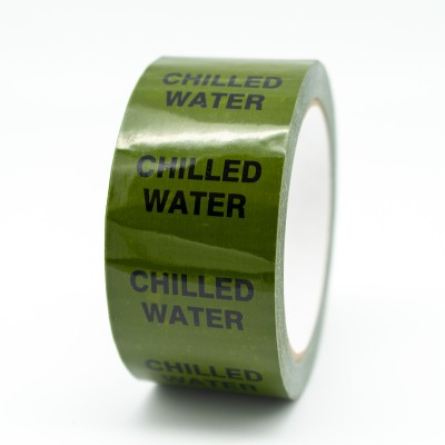 Chilled Water Pipe Identification Tape - Green 12-D-45 - R M Labels - ID152T50G