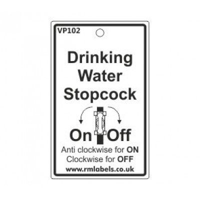Drinking Water Stopcock Label with pictogram Code VP102