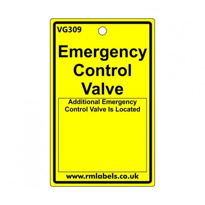 Emergency Control Valve Label Code VG309