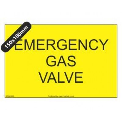 Emergency Gas Valve Label GAS09SA