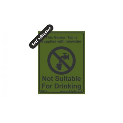 Garden Tap Rainwater label 75x100mm Self Adhesive Code RW16SA