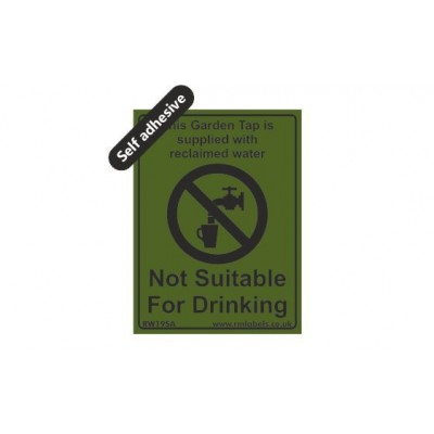 Garden Tap Reclaimed Water label 75x100mm Self Adhesive Code RW19SA