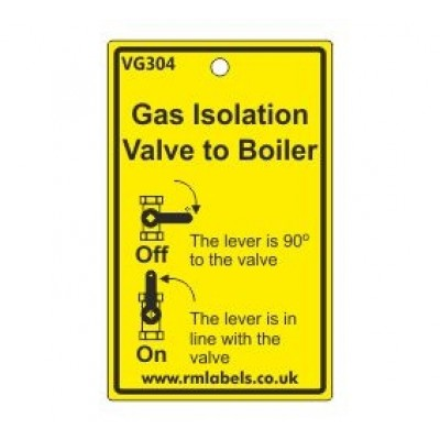 Gas Isolation Valve to Boiler Label Code VG304