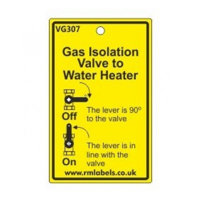 Gas Isolation Valve to Water Heater Label Code VG307