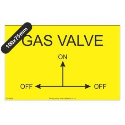 Gas Valve with arrows Label GAS10X