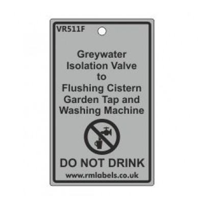 Greywater Isolation Valve to Flushing Cistern Garden Tap and Washing Machine Label Code VR511F