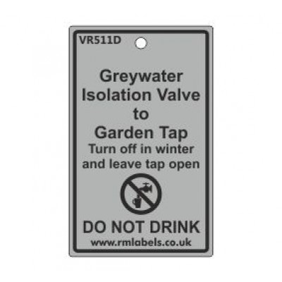 Greywater Isolation Valve to Garden Tap Label Code VR511D