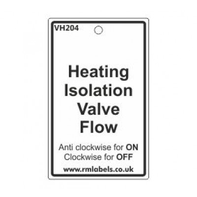 Heating Isolation Valve Flow Label Code VH204