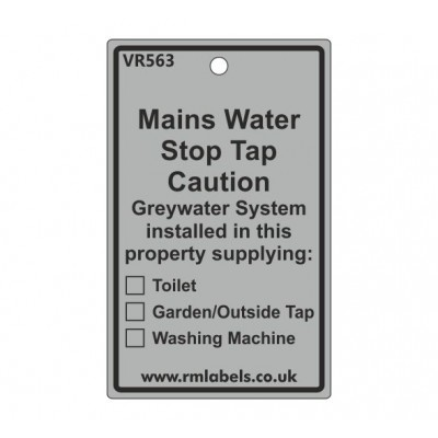 Mains Water Stop Tap Label Code VR563