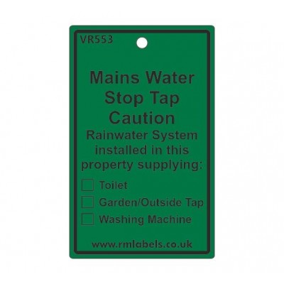 Mains Water Stop Tap Label for Rainwater Code VR553REW