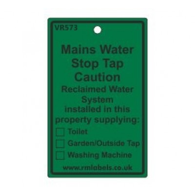 Mains Water Stop Tap Label for Reclaimed Water Code VR573REW