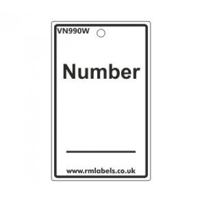 Number Label in white Code VN990W