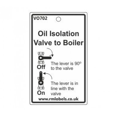 Oil Isolation Valve to Boiler Label Code VO702