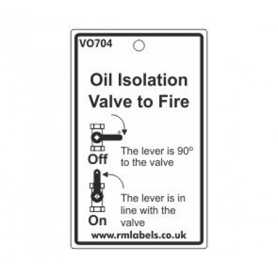 Oil Isolation Valve to Fire Label Code VO704