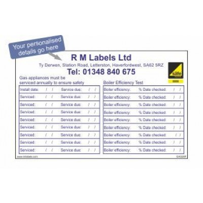 Personalised Boiler Service and Efficiency Test Labels GAS28P