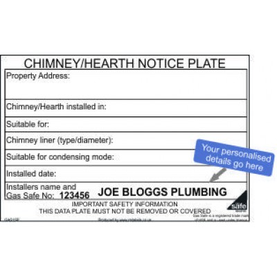 Personalised Chimney Hearth Notice Plate Labels GAS15P