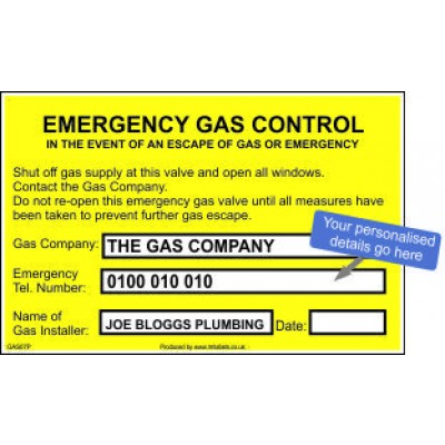 Personalised Emergency Gas Control Labels GAS07P