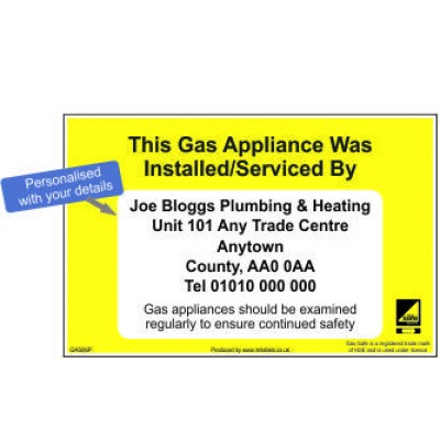 Personalised Gas Appliance Service Labels GAS06P