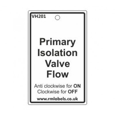 Primary Isolation Valve Flow Label Code VH201
