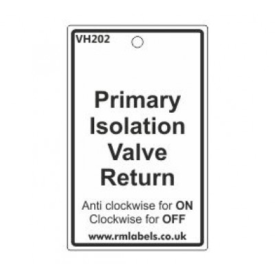 Primary Isolation Valve Return Label Code VH202