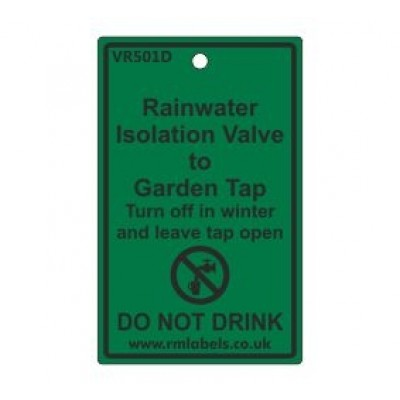 Rainwater Isolation Valve to Garden Tap Label Code VR501D