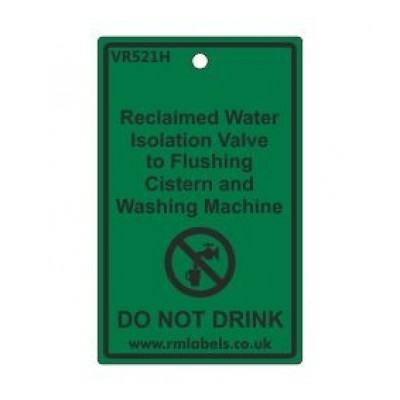Reclaimed Water Isolation Valve to Flushing Cistern and Washing Machine Label Code VR521H