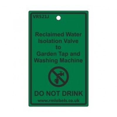 Reclaimed Water Isolation Valve to Garden Tap and Washing Machine Label Code VR521J