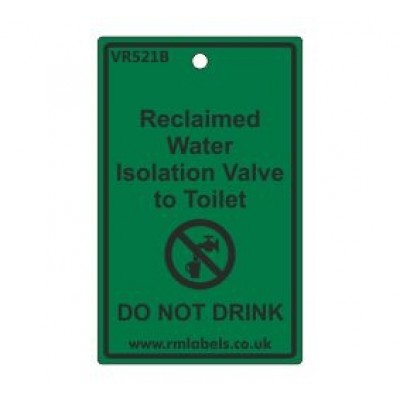 Reclaimed Water Isolation Valve to Toilet Label Code VR521B