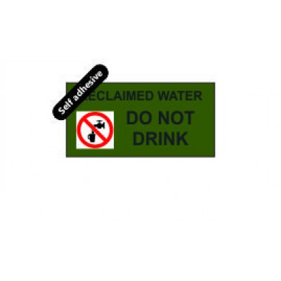 Reclaimed Water label 100x50mm Self Adhesive Code RW01SA