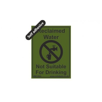 Reclaimed Water label 75x100mm Self Adhesive Code RW18SA