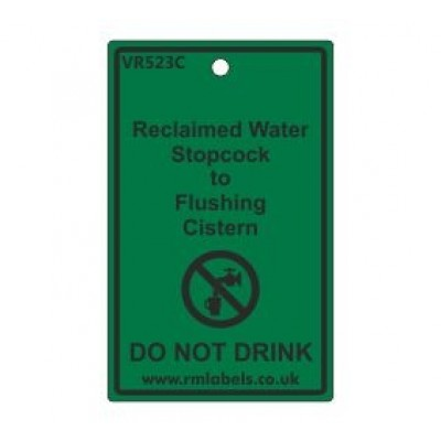 Reclaimed Water Stopcock to Flushing Cistern Label Code VR523C