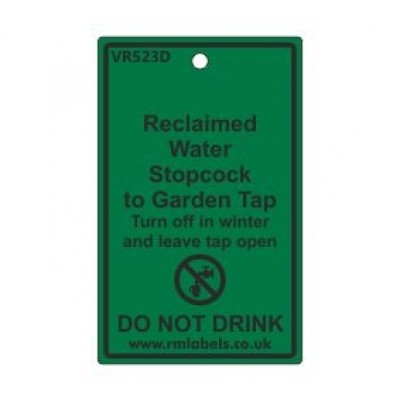 Reclaimed Water Stopcock to Garden Tap Label Code VR523D