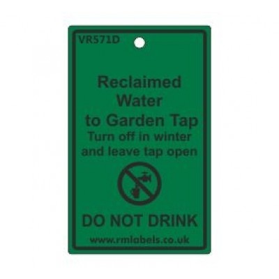 Reclaimed Water to Garden Tap Label Code VR571D