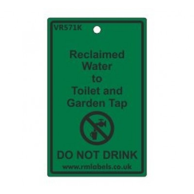 Reclaimed Water to Toilet and Garden Tap Label Code VR571K