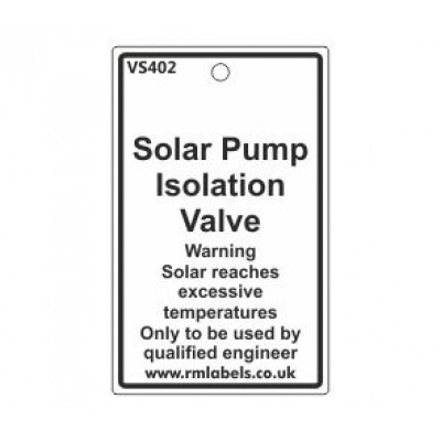 Solar Pump Isolation Valve Label Code VS402