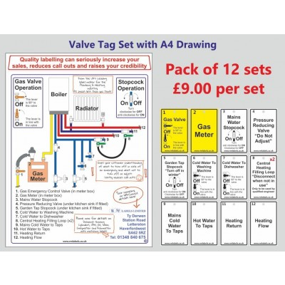 Valve Tags & Drawings for Combi Boiler Heating System - R M Labels - 12 sets