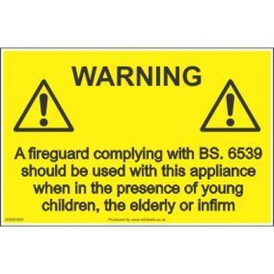 Warning Fireguard Label GAS03SA