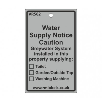 Water Supply Notice Label for Greywater Code VR562