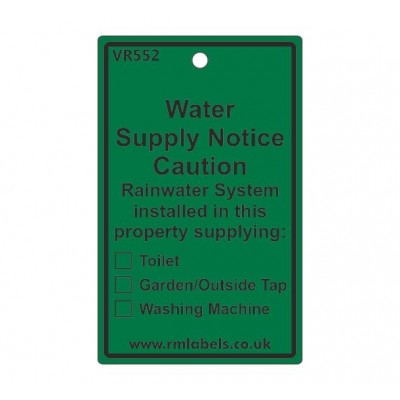 Water Supply Notice Label for Rainwater Code VR552REW