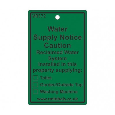 Water Supply Notice Label for Reclaimed Water Code VR572REW