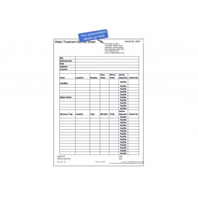 Personalised Water Treatment Service Sheet 25 sets Code 58T3PT