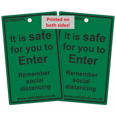 Safe To Enter Door Hanging Tag & Luggage Tie - Reusable - R M Labels