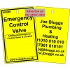 Emergency Control Valve Label and your details on reverse Code VG309A