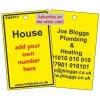 House Label in yellow and your details on reverse Code VN991YA