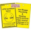 LPG Isolation Valve Label and your details on reverse Code VG311A