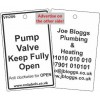 Pump Valve Keep Fully Open Label and your details on reverse Code VH206A