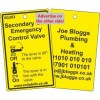 Secondary Gas Emergency Control Valve Label and your details on reverse Code VG303A