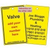 Valve Label in yellow and your details on reverse Code VN994YA